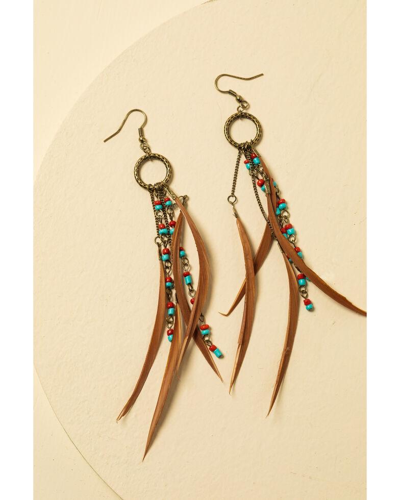 Shyanne Women's Summer Nights Bronze Simple Feather Earrings, Bronze, hi-res