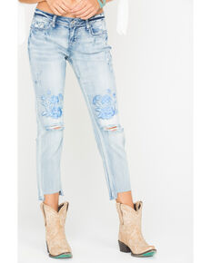 Grace in LA Women's Embroidered Boyfriend Jeans - Straight Leg , Indigo, hi-res