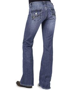 Stetson Women's 816 Classic Fit Rhinestone Flap Pocket Jeans, Denim, hi-res