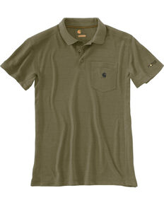 Carhartt Men's Force Extremes Pocket Short Sleeve Work Polo Shirt , Olive, hi-res