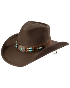 Bullhide Women's Jewel Of The West Wool Hat, Brown, hi-res