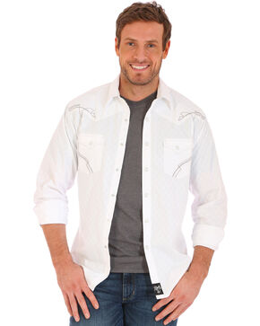Wrangler Men's Rock 47 White Embroidered Stitch Long Sleeve Snap Shirt - Big and Tall, White, hi-res