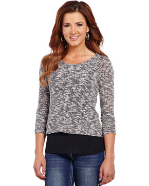 Cowgirl Up Women's Heathered Knit Long Sleeve Sweater, Beige, hi-res