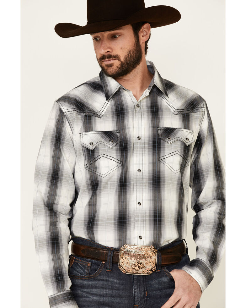 Cody James Reel Large Plaid Long Sleeve Snap Western Shirt , White, hi-res