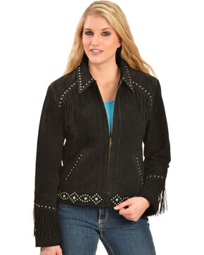 Scully Studded Fringe Jacket, Black, hi-res