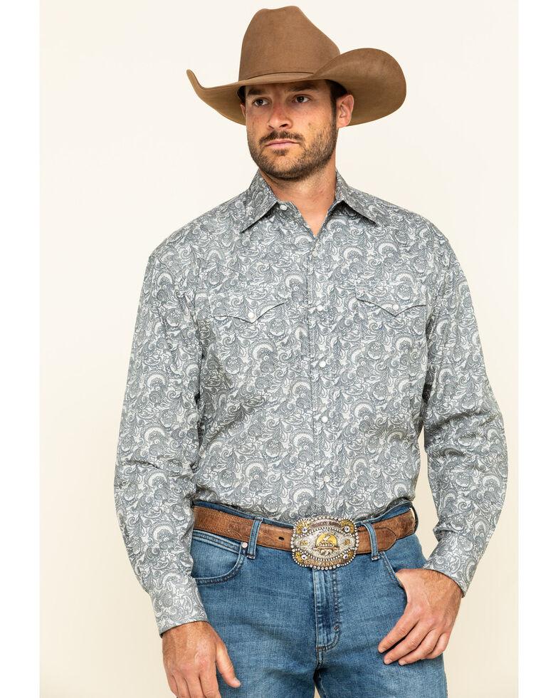 Stetson Men's Tooling Paisley Print Long Sleeve Western Shirt , Grey, hi-res