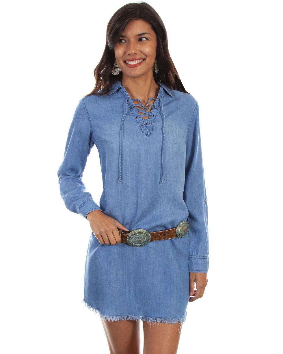 Honey Creek by Scully Women's Criss Cross Tie Neck Denim Dress , Blue, hi-res