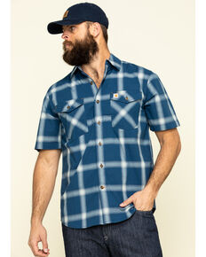 Carhartt Men's Dark Blue Rugged Flex Bozeman Plaid Short Sleeve Work Shirt - Big , Dark Blue, hi-res