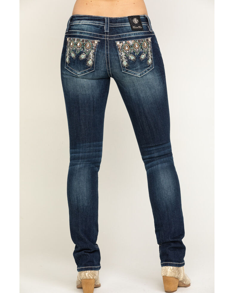 Miss Me Women's Embellished Peacock Mid-Rise Straight Jeans, Blue, hi-res
