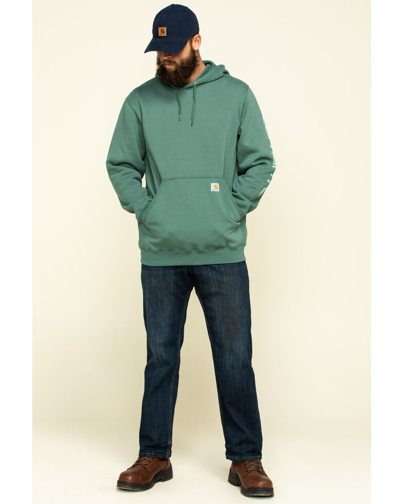 Carhartt Men's Olive Midweight Signature Sleeve Logo Hooded Work Sweatshirt , Olive, hi-res