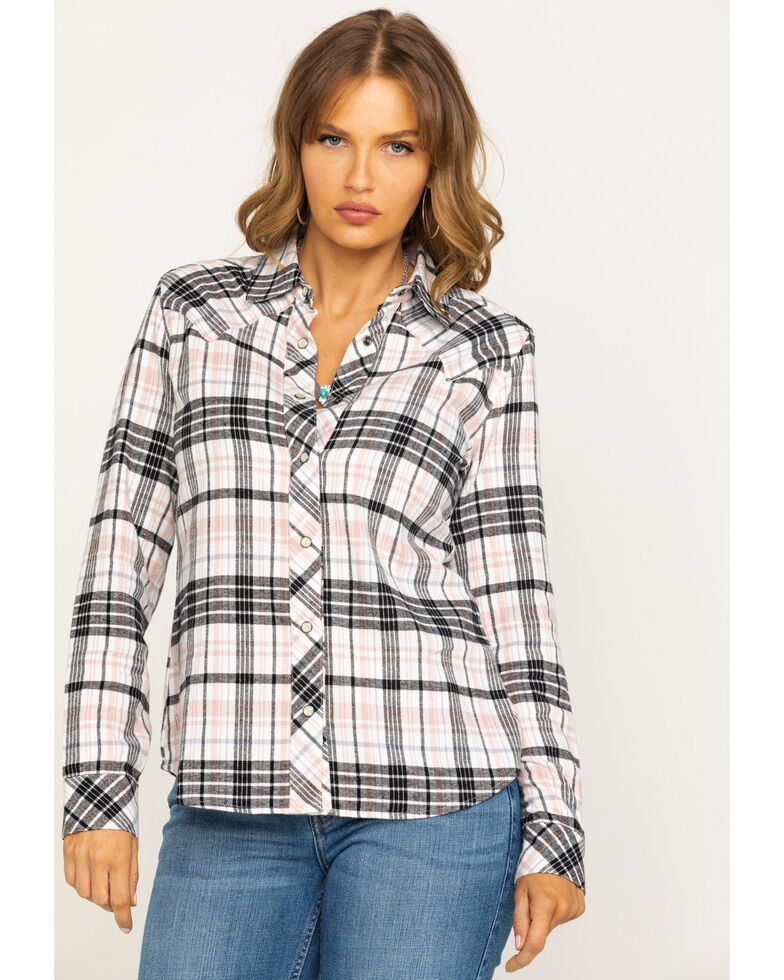 Idyllwind Women's Stay Awhile Pink Flannel Shirt, Cream, hi-res