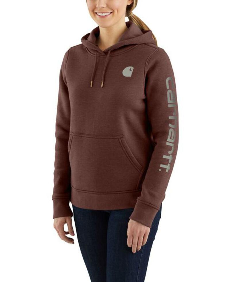 Carhartt Women's Clarksburg Graphic Sleeve Pullover Sweatshirt, Brown, hi-res