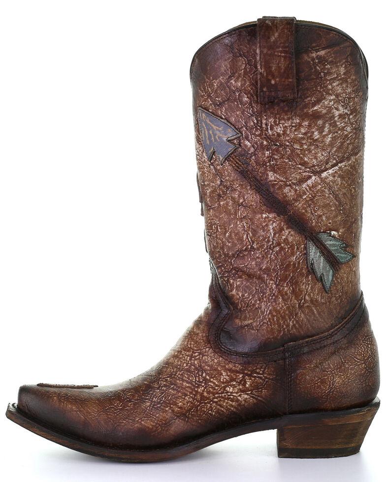 Corral Men's Brown Indian Skull Overlay Western Boots - Snip Toe, Brown, hi-res