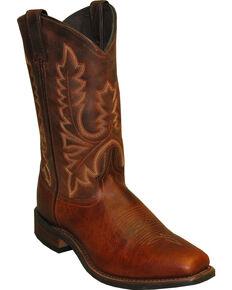 Abilene Brown Stockman Cowboy Boots - Square Toe , Brown, hi-res