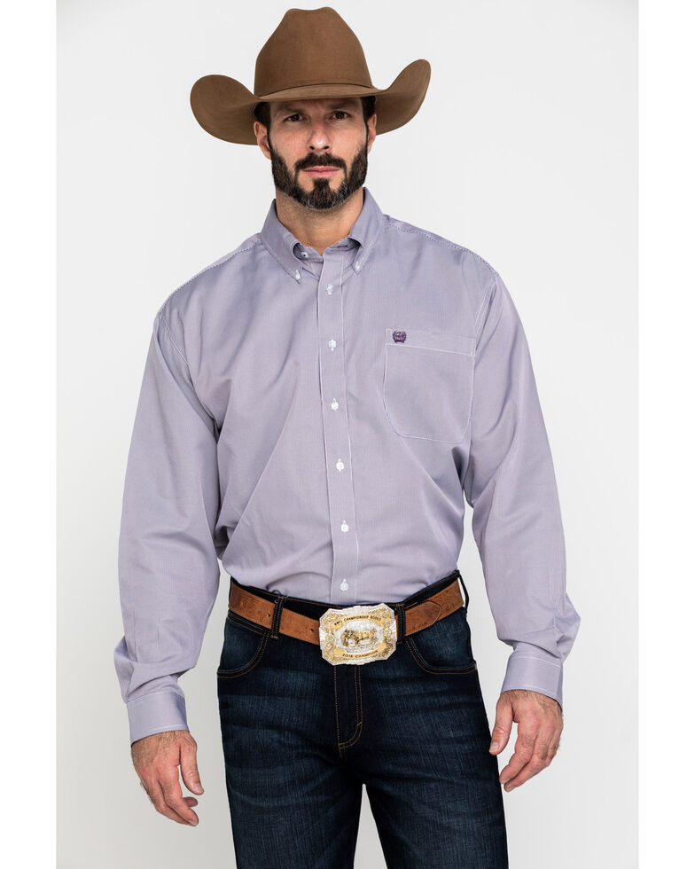 Cinch Men's Purple Tencel Small Striped Long Sleeve Western Shirt , Purple, hi-res