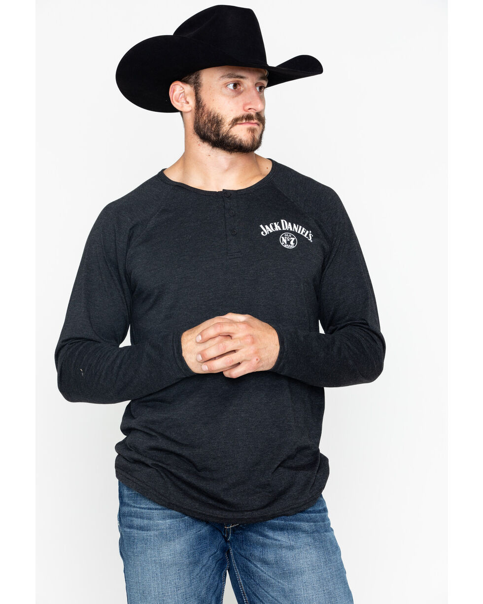 Jack Daniel's Men's Solid Henley Long Sleeve Shirt , Black, hi-res