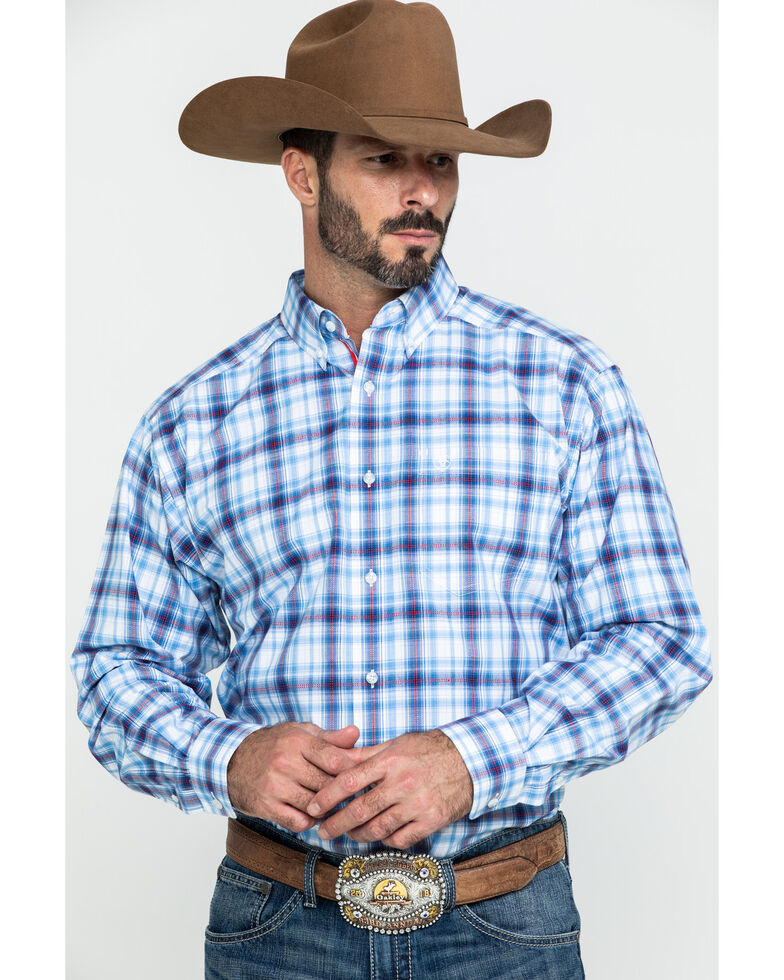 Ariat Men's Gilroy Multi Small Plaid Long Sleeve Western Shirt - Big , Multi, hi-res