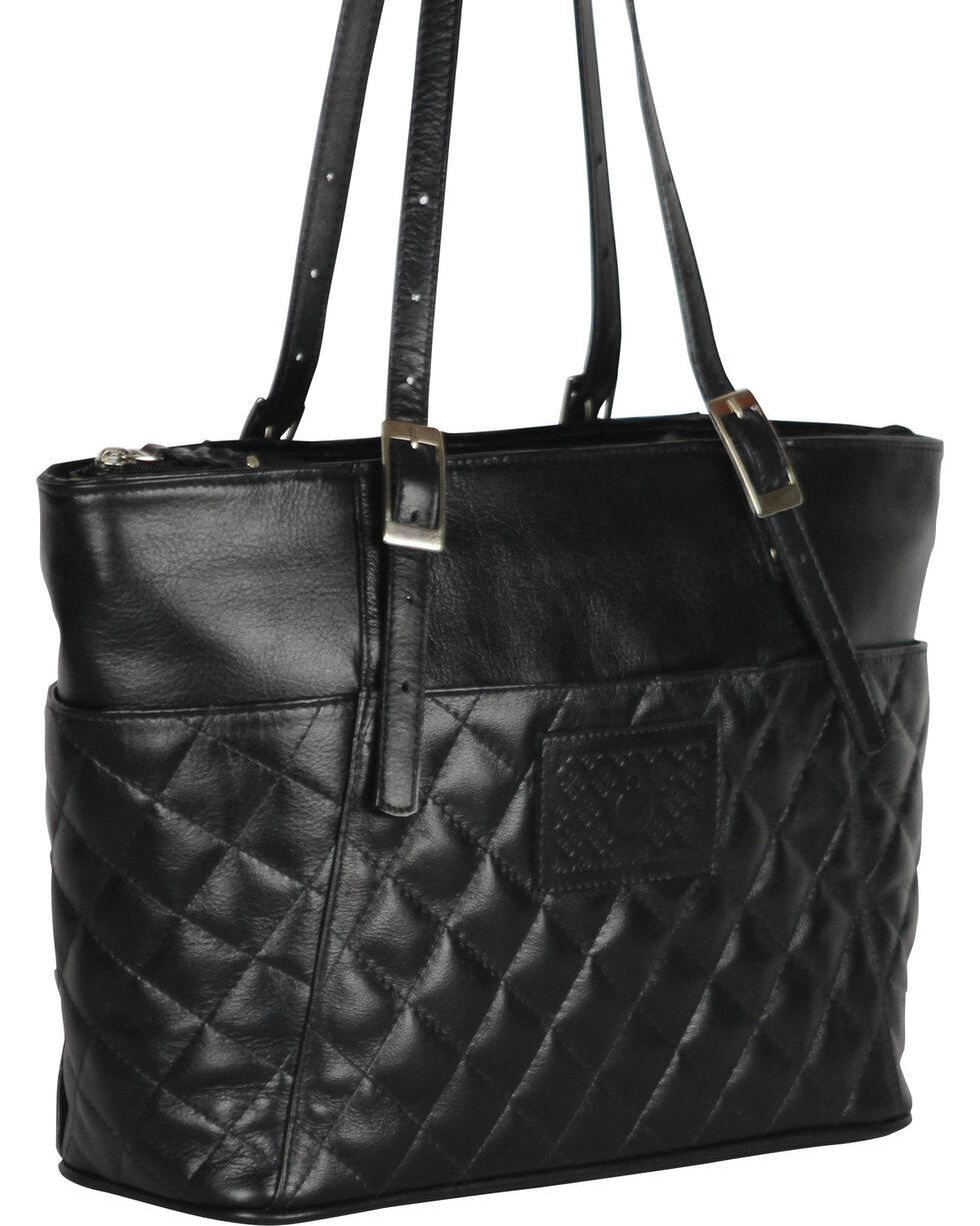 Designer Concealed Carry Quilted Black Uptown Zip Top Tote Bag, Black, hi-res