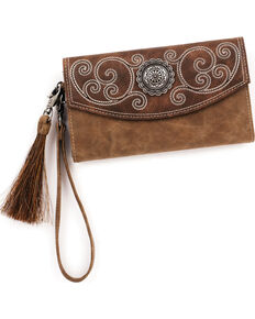 Blazin Roxx Women's Molly Concho Wallet and Clutch , Brown, hi-res