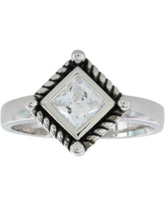 Montana Silversmiths Women's Roped Clear Cut Ring, Silver, hi-res