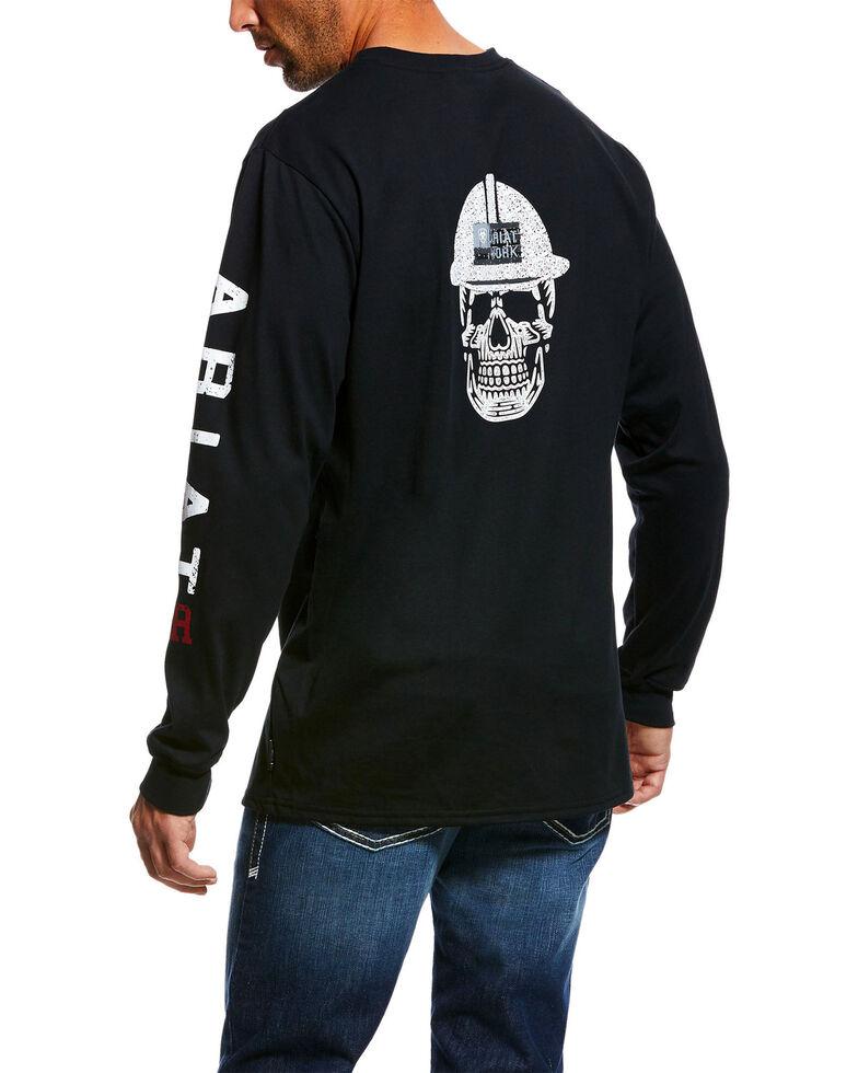 Ariat Men's FR Roughneck Skull Logo Crew Long Sleeve Work Tee - Tall , Black, hi-res
