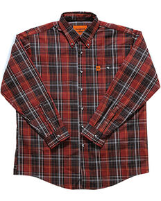 Wrangler Men's Rust Plaid Flame Resistant Long Sleeve Work Shirt - Tall , Chilli, hi-res