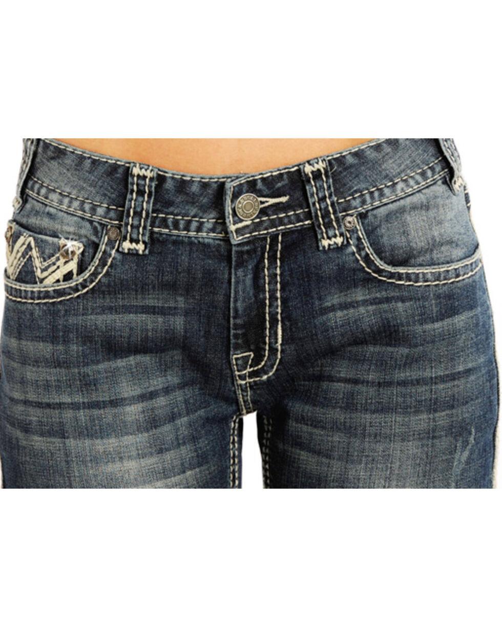Rock & Roll Cowgirl Women's Embellished Zig Zag Jeans - Boot Cut , Indigo, hi-res