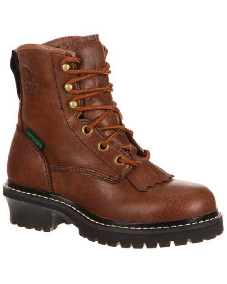 Georgia Boot Big Kids Waterproof Logger Boots - Round Toe, Brown, hi-res