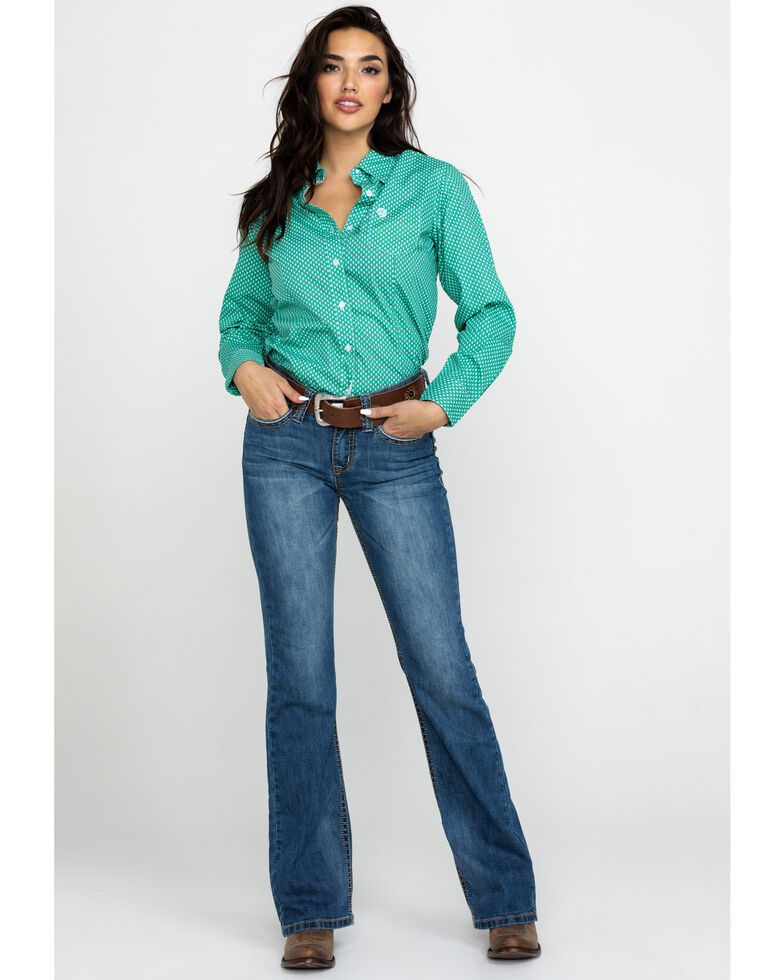 George Strait By Wrangler Women's Geo Print Button Front Western Shirt , Green, hi-res