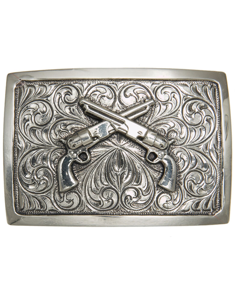 And West Antique Silver Crossed Pistols Iconic Buckle, Silver, hi-res