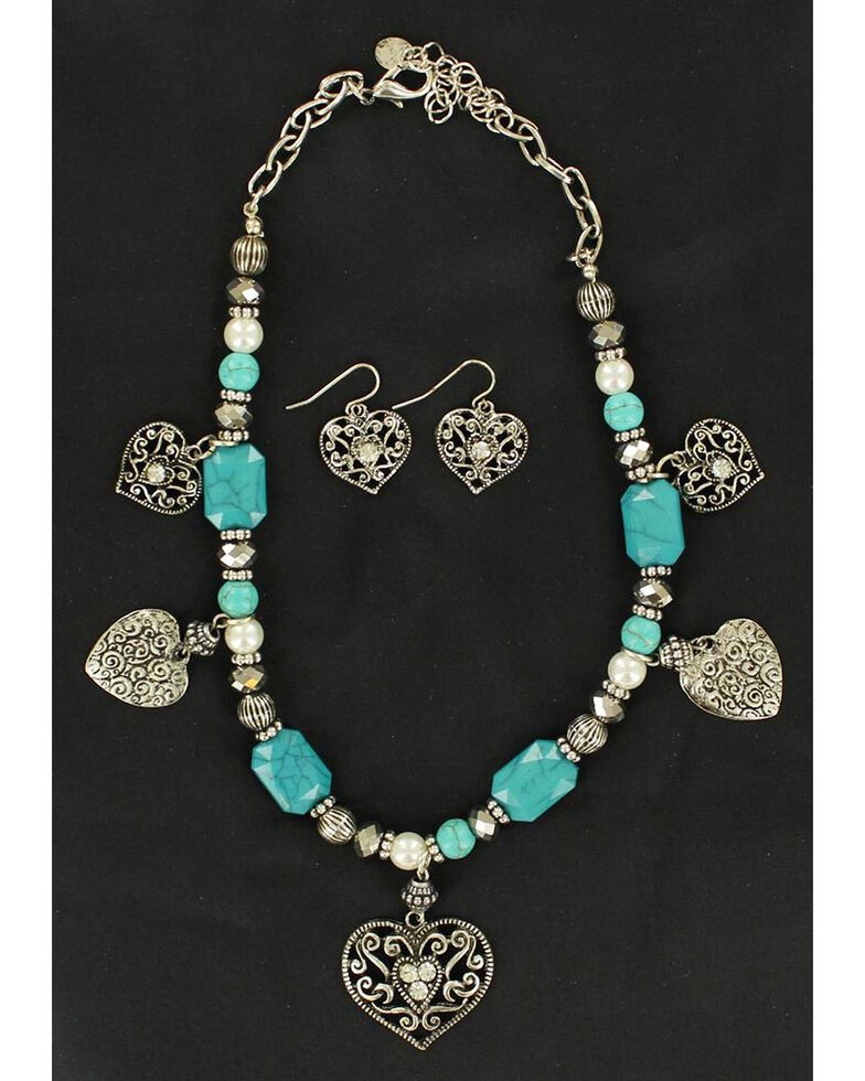 Blazin Roxx Beaded Heart Charm Necklace & Earrings Set, Turquoise, hi-res