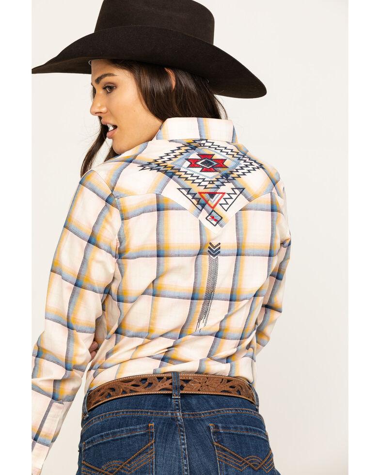 Wrangler Women's Ivory Embroidered Long Sleeve Western Shirt, Multi, hi-res