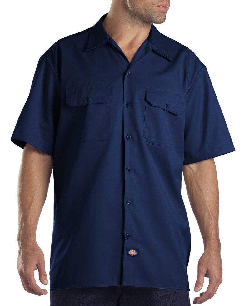 Dickies Men's Short Sleeve Work Shirt, Navy, hi-res