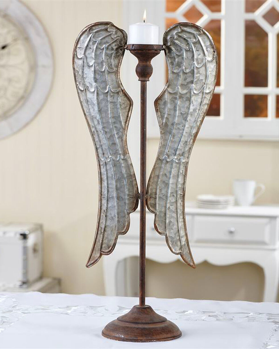 Giftcraft Metal Angel Wings Tealight Candle Stand - Large, No Color, hi-res