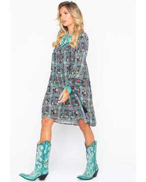 Rock & Roll Cowgirl Women's Floral Patterned Shift Dress, Black, hi-res