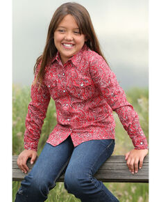 Cruel Girl Girls' Pailsey Print Long Sleeve Western Shirt , Red, hi-res