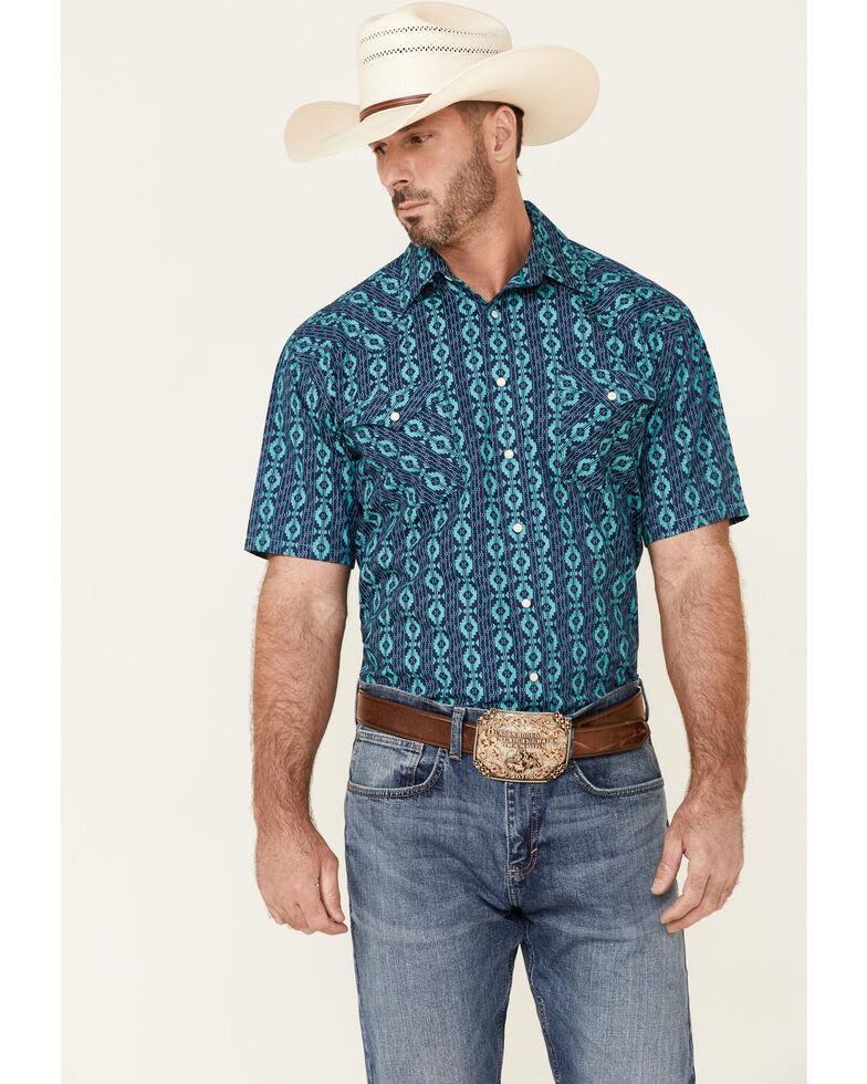 Rough Stock By Panhandle Men's Large Aztec Geo Print Short Sleeve Snap Western Shirt , Navy, hi-res