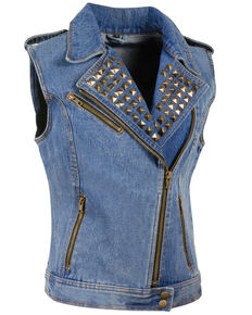Milwaukee Leather Women's Studded Zip Front Denim Vest - 5X, Blue, hi-res