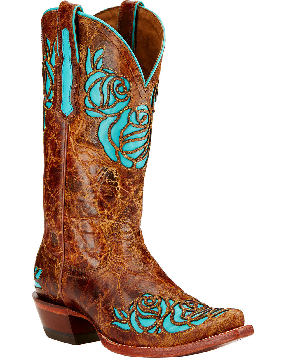 Ariat Women's Dusty Rose X-Toe Western Boots, Saddle Tan, hi-res