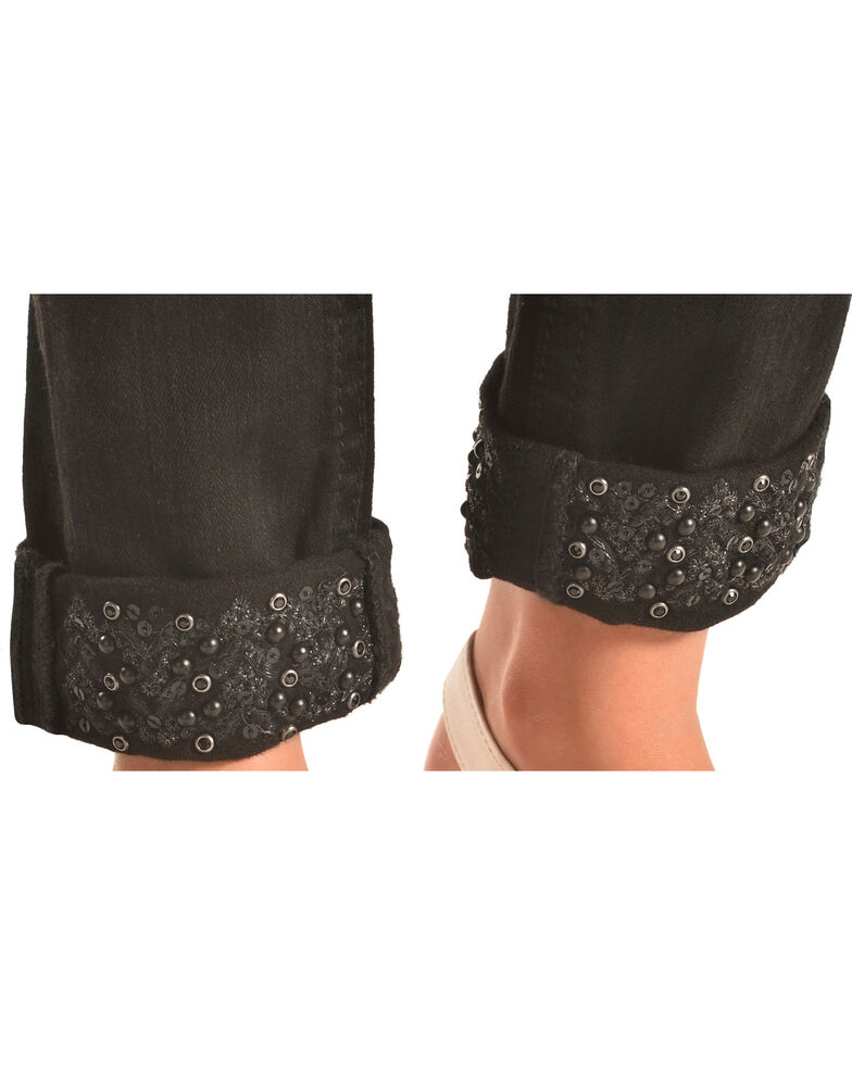 Miss Me Girls' Black Embellished Cuff Skinny Jeans , Black, hi-res