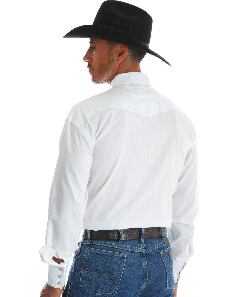 George Strait  by Wrangler Men's White Troubadour Long Sleeve Western Shirt , White, hi-res