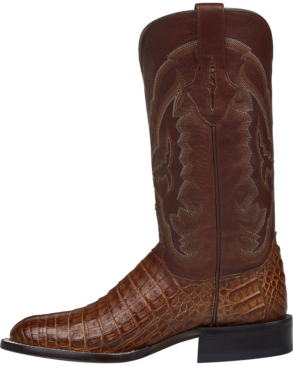 Lucchese Handmade Cigar Brown Sean Belly Caiman Cowboy Boots - Square Toe , Brown, hi-res