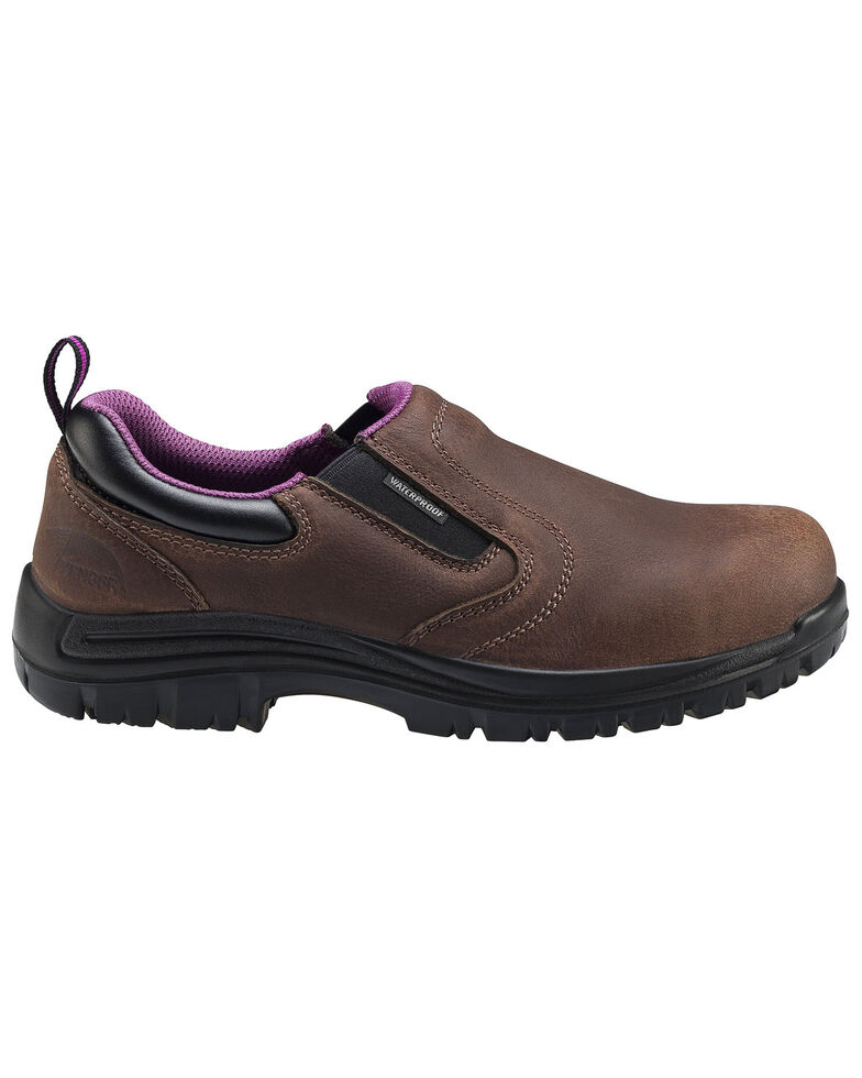 Avenger Women's Waterproof Oxford Work Shoes - Composite Toe, Brown, hi-res