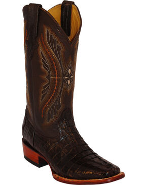 Ferrini Men's Caiman Crocodile Tail Exotic Western Boots, Chocolate, hi-res