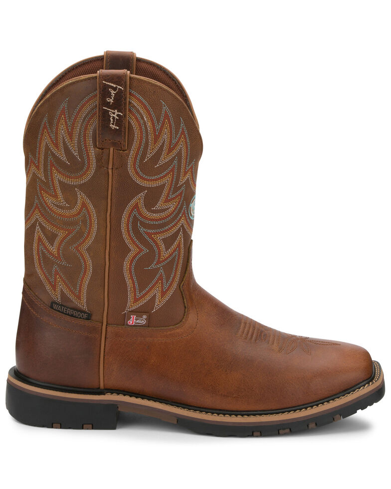 Justin Men's The Fireman Waterproof Western Boots - Wide Square Toe, Brown, hi-res