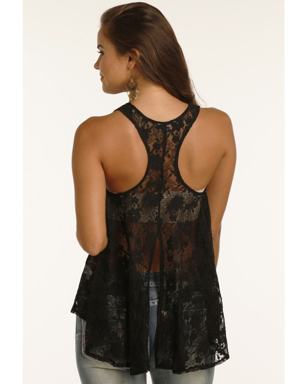 Rock & Roll Cowgirl Women's Sheer Lace Tank, Black, hi-res