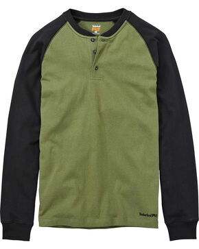 Timberland PRO Men's Olive Cotton Core Raglan Henley, Black, hi-res
