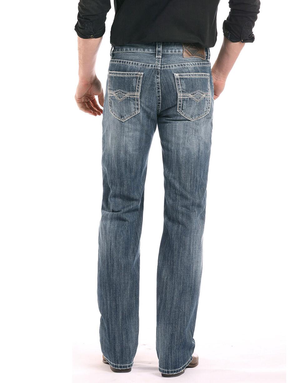 Rock & Roll Cowboy Men's Double Barrel Running Stitch Straight Jeans, Blue, hi-res