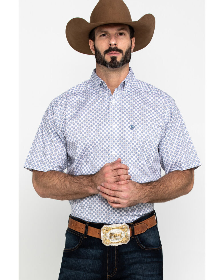 Ariat Men's Lucas Small Geo Print Short Sleeve Western Shirt - Tall , White, hi-res
