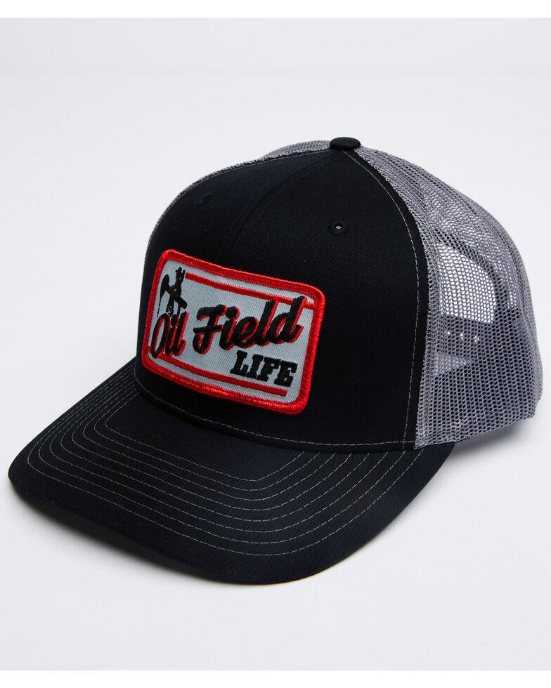 Oil Field Hats Men's Black Retro Patch Mesh Ball Cap , Black, hi-res
